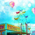 Dreamy Carnival Ferris Wheel Ticket Booth Hot Air Balloons Teal Aquamarine Blue Festival Fair Rides by Kathy Fornal