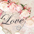 Dreamy Shabby Chic Roses Heart With Love - Love Typography Heart Romantic Cottage Chic Love Prints by Kathy Fornal
