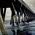 Dreamy Haunting Ocean Coastal Pier With Stars And Birds by Kathy Fornal