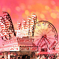 Surreal Hot Pink Orange Carnival Festival Cotton Candy Stand Candy Apples Ferris Wheel Art by Kathy Fornal