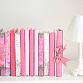 Dreamy Romantic Books Collection - Shabby Chic Cottage Chic Pastel Pink Books Photograph by Kathy Fornal