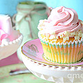 Dreamy Shabby Chic Cupcake Vintage Romantic Food And Floral Photography - Pink Teal Aqua Blue  by Kathy Fornal