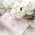 Dreamy Shabby Chic White Hydrangeas On Pink Love Book - Romantic Hydrangeas Love Book Decor by Kathy Fornal