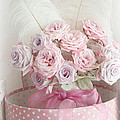 Dreamy Shabby Chic Roses In Pink Polka Dot Hat Box - Romantic Roses Floral Bouquet by Kathy Fornal