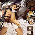 Drew Brees New Orleans Saints Quarterback Artwork by Sheraz A