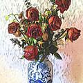 Dried Roses In Vase by Pamela Walton