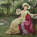 Drinking Coffee And Reading In The Garden by Edward Killingworth Johnson