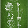Droop Hand  Drum Patent Drawing From 1892 - Green by Aged Pixel