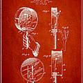 Droop Hand  Drum Patent Drawing From 1892 - Red by Aged Pixel