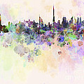 Dubai Skyline In Watercolour Background by Pablo Romero