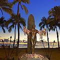 Duke Kahanamoku Statue At Dusk by Aloha Art