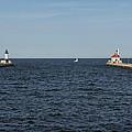 Duluth N And S Pier Lighthouses 5 by John Brueske