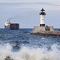 Duluth N Pierhead And Ship 1 by John Brueske