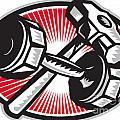 Dumbbell And Sledgehammer Retro by Aloysius Patrimonio