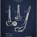 Dunn Golf Club Patent Drawing From 1900 - Navy Blue by Aged Pixel
