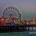 Dusk At The Santa Monica Pier by Tommy Anderson