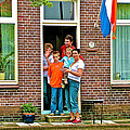 Dutch Family On Orange Day In Enkhuizen-netherlands by Ruth Hager