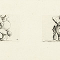 Dwarf With Bottle And Glass, Drink Spilling Dwarf by Jacques Callot And Abraham Bosse