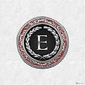 E - Silver Vintage Monogram On White Leather by Serge Averbukh