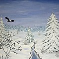 Eagle On Winter Lanscape by Georgeta  Blanaru