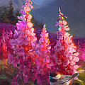 Eagle River Summer Chickadee And Fireweed Alaskan Landscape by Karen Whitworth