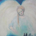 Early Dawn Angel Overlooking Commuters by Asha Carolyn Young