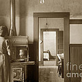 Early Kitchen With A Wood Kitchen Stove Circa 1906 by California Views Archives Mr Pat Hathaway Archives