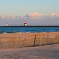 Early Morning Beach And Lighthouse by Harold Hopkins