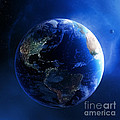 Earth And Galaxy With City Lights by Johan Swanepoel