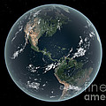 Earths Western Hemisphere With Rise by Walter Myers