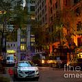 East 44th Street - Rhapsody In Blue And Orange - Close View by Miriam Danar