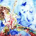 Eddie Van Halen Playing The Guitar.1 Watercolor Portrait by Fabrizio Cassetta