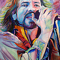 Eddie Vedder In Pink And Blue by Joshua Morton