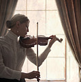 Edwardian Woman Playing Violin At The Window by Lee Avison