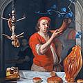 Een Bakker Die Zijn Hoorn Blaast by Gabriel Metsu