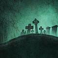 Eerie Graveyard At Night In Fog by Lee Avison
