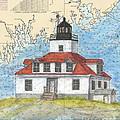 Egg Rock Lighthouse Me Nautical Chart Map Art by Cathy Peek