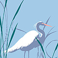 abstract Egret graphic pop art nouveau 1980s stylized retro tropical florida bird print blue gray  by Walt Curlee