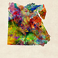 Egypt Watercolor Map by Michael Tompsett