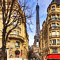 Eiffel Tower And The Streets Of Paris by Mark E Tisdale