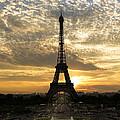 Eiffel Tower At Sunset by Debra and Dave Vanderlaan