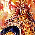 Eiffel Tower In Red by Ryan Fox