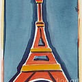 Eiffel Tower Orange Blue by Robyn Saunders