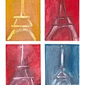 Eiffel Tower Paintings Of 4 Up by Robyn Saunders