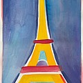 Eiffel Tower Paris France Yellow Red And Aqua Blue by Robyn Saunders