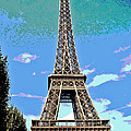Eiffel Tower Posterized by Barbara McDevitt