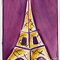Eiffel Tower Purple And Yellow by Robyn Saunders