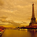 Eiffel Tower Rising Over The Seine by Mark E Tisdale
