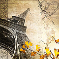Eiffel Tower Vintage Collage by Delphimages Photo Creations