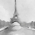 Eiffel Tower Watercolor Painting - Black And White by Beverly Brown